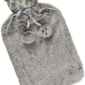 Warmwaterkruik met pluche hoes in het grijs of bruin